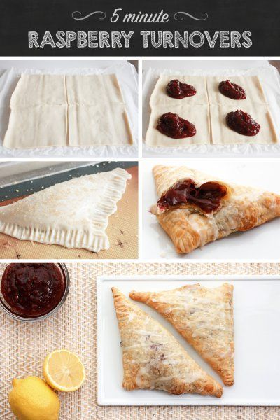 Raspberry turnovers ready in just 5 minutes. So SO good!!