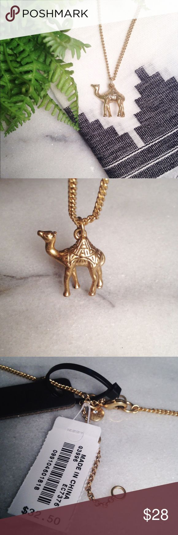 J. Crew Camel Pendant Necklace J. Crew Camel Pendant Necklace. Adorable pendant camel necklace! Length is roughly 30 inches with a 3 inch extension. Jewelry bag included and the camel is slightly bigger than a penny. A must have for a jewelry lover! J. Crew Jewelry Necklaces