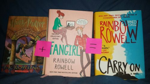 """thebooknerdreads: """" This book + this book = that book The magic in Harry Potter + the fanfiction in Fangirl = Carry On """""""