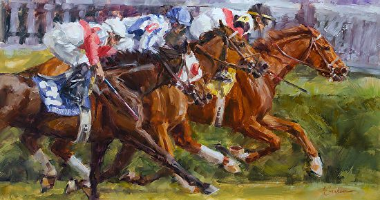 Lindsey Bittner Graham - Fast Turf at Churchill Downs- Oil - Painting entry - April 2014 | BoldBrush Painting Competition