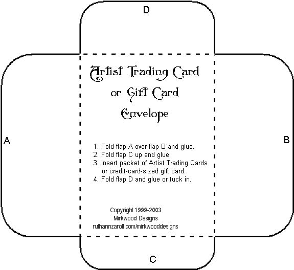 Envelope for  Artist Trading Cards (3.75 x 2.5)  or Credit-Card-Sized Gift Cards