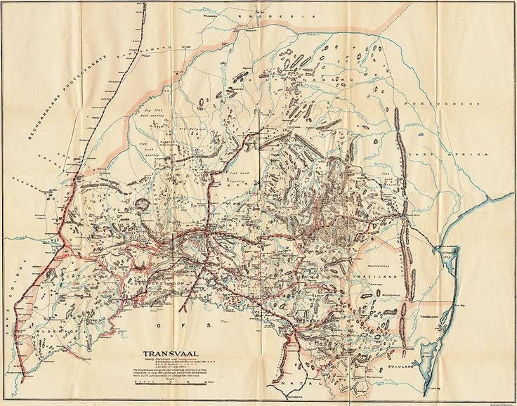 Boer War Maps - Map of the Boer Republic of Transvaal Showing Blockhouse Lines and South African Constabulary Posts with Dates of Completion - Credit : Canada. Dept. of Militia and Defence, Organization, equipment, despatch and service of the Canadian contingents during the war in South Africa, 1899-1900:Supplementary report (Sessional paper no. 35a), Ottawa, Queens Printer, 1901