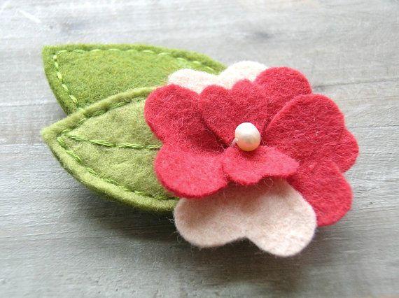 Felt Flower Hair Clip // Barrette // Rhubarb Red Pansy // Womens Fashion Hair Accessory by OrdinaryMommy on Etsy