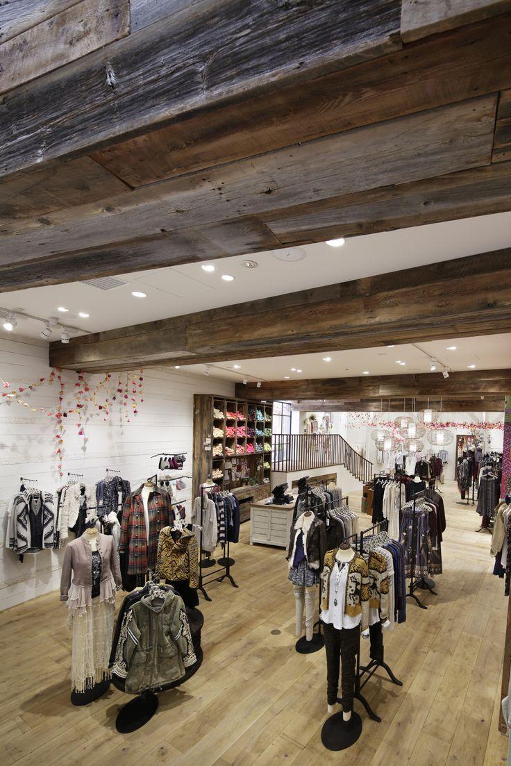 EOA / Elmslie Osler Architect designed Free People retail store, Tokyo Japan flagship, Shibuya / Harajuku, raw wood beams