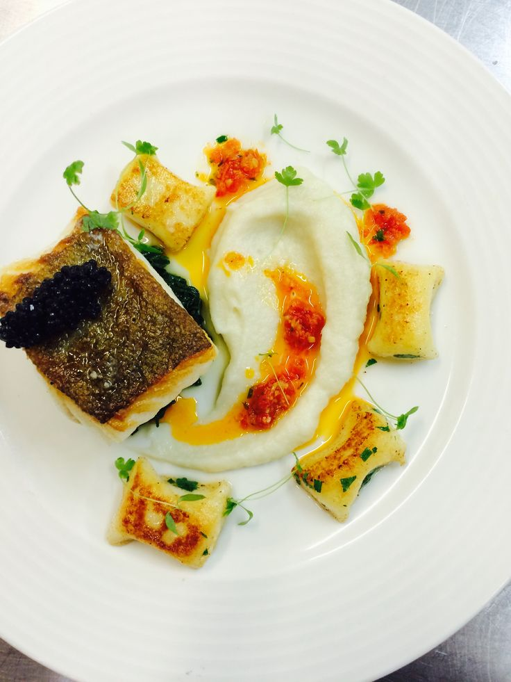 Oven roast cod, Jerusalem artichoke puree, wilted spinach with ricotta gnocchi & lemon dressing - available at Brompton Road for two weeks