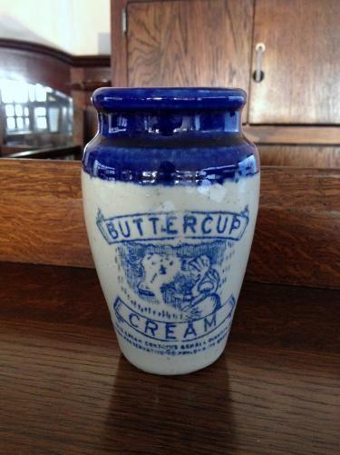 イギリスアンティーク クリームポット 陶器 BUTTER CUP CREAM/バターカップデイリー社 C4