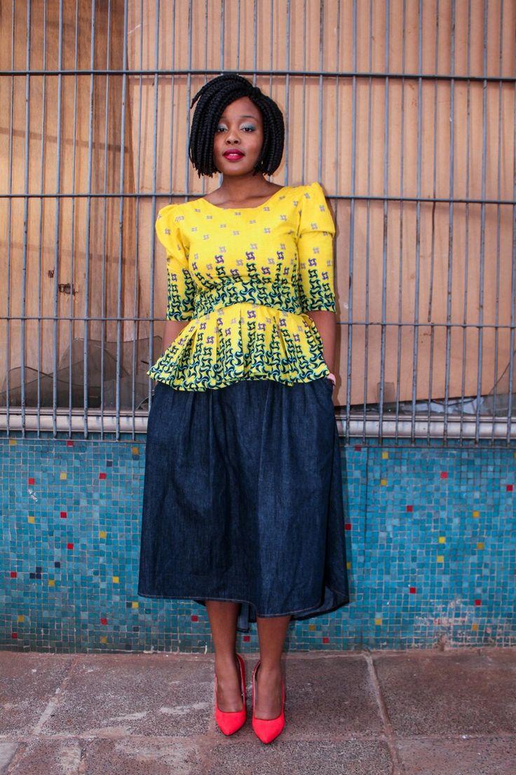 West African print! #peplum #3/4 sleeve #ankara