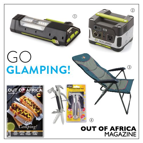 Get Shopping with OUT OF AFRICA: MARCH Issue OUT NOW!  Make camping comfortable with these excellent products. 1. Goal Zero Torch 250 $110 get the most reliable emergency LED light for any situation with the Torch 250 Flashlight. Built-in USB charging cable solar panel and hand crank for bright light anywhere. Available at Solution Centre. 2. Goal Zero Yeti 400 $340 a plug-and-play silent fume-free portable power station for emergencies camping or wherever you need power. Available at…