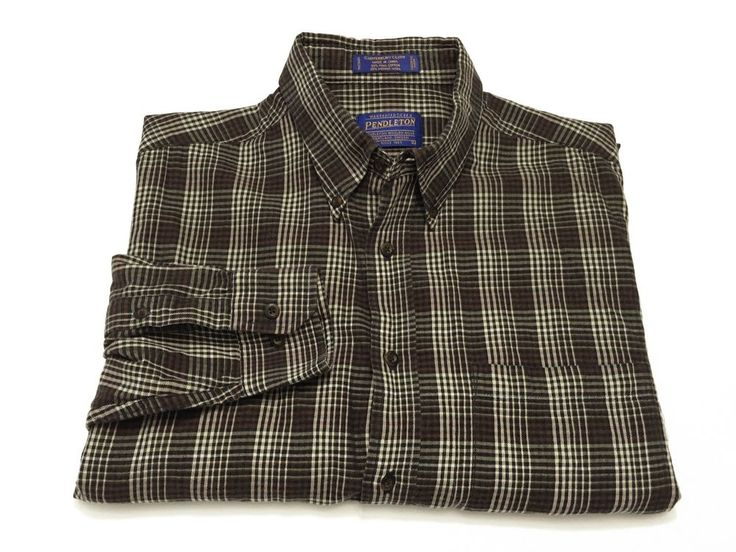 Pendleton L Men's Plaid Canterbury Cloth Pima Cotton Wool Blend Button Shirt #Pendleton #ButtonFront