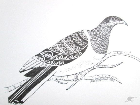 Kereru August 2013 - ORIGINAL by Jan FitzGerald  - Executed with fine-tip pigment pen. | Trade Me