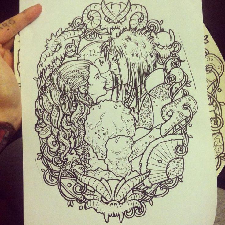 Labyrinth line drawing by lynntattoos on deviantART ... Labyrinth Movie Tattoo
