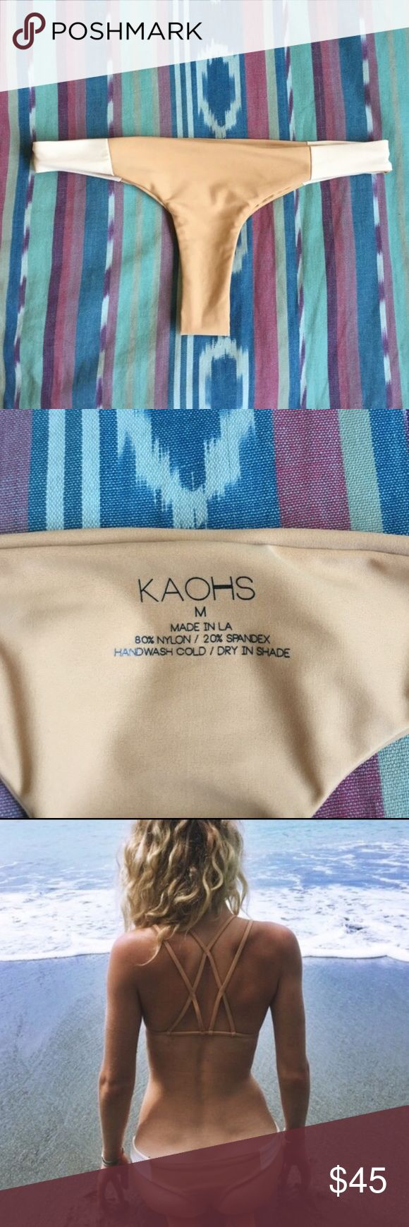 Kaohs Candace Bikini Bottoms Only worn once! Great condition! Colors: tan & beige. Incredibly comfortable and cute! ✨Size: Medium ✨Fits: Medium ✨Make an offer!  ❣️24 hr shipping on all orders! Swim Bikinis