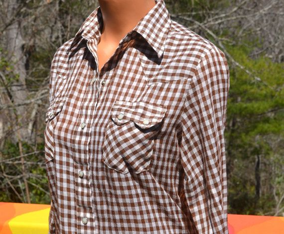 17 best images about vintage women 39 s blouses on pinterest for Ladies brown check shirt