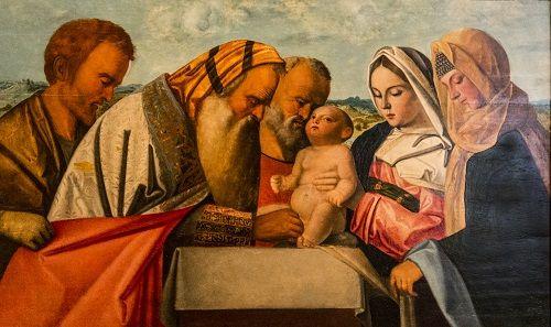 Uusivuosi. Jeesuksen ympärileikkaus, Giovanni Bellinin työpaja, 1500-luvun alku. Pinacoteca di Brera, Milano, Italia. Valokuva Marco Peretto.