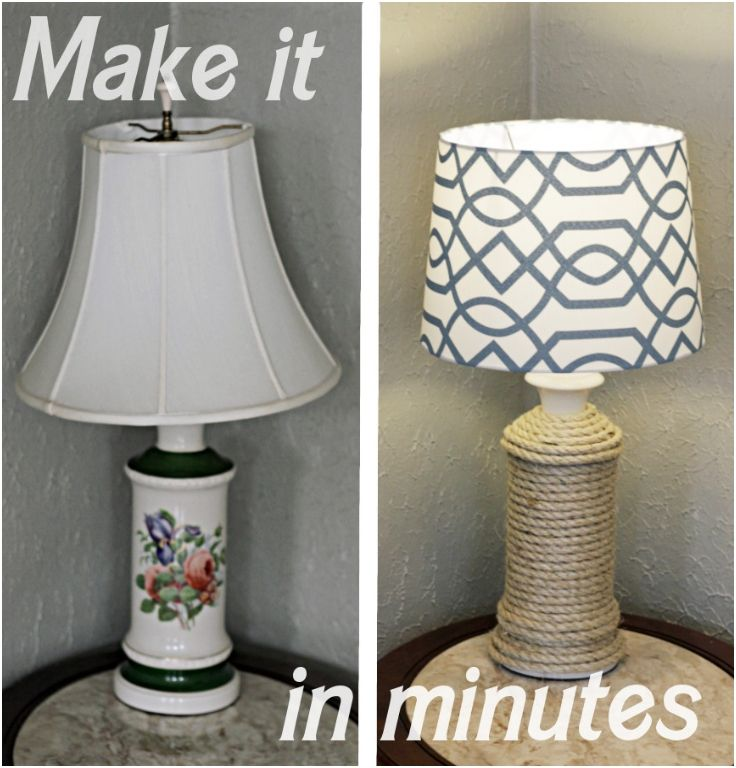 DIY Nautical Lamp Make Over - There are various ropes depending the materials they are made from and the purpose they are meant for, like for dragging and lifting things. Ropes can be used anywhere and by anyone, from cattle wranglers to sailors and mountain climbers. It truly is a versatile piece of equipment, but it can also be used to give a little flair to your home. The rope can be a surprisingly decorative piece if you know how to use it and what to use it on.