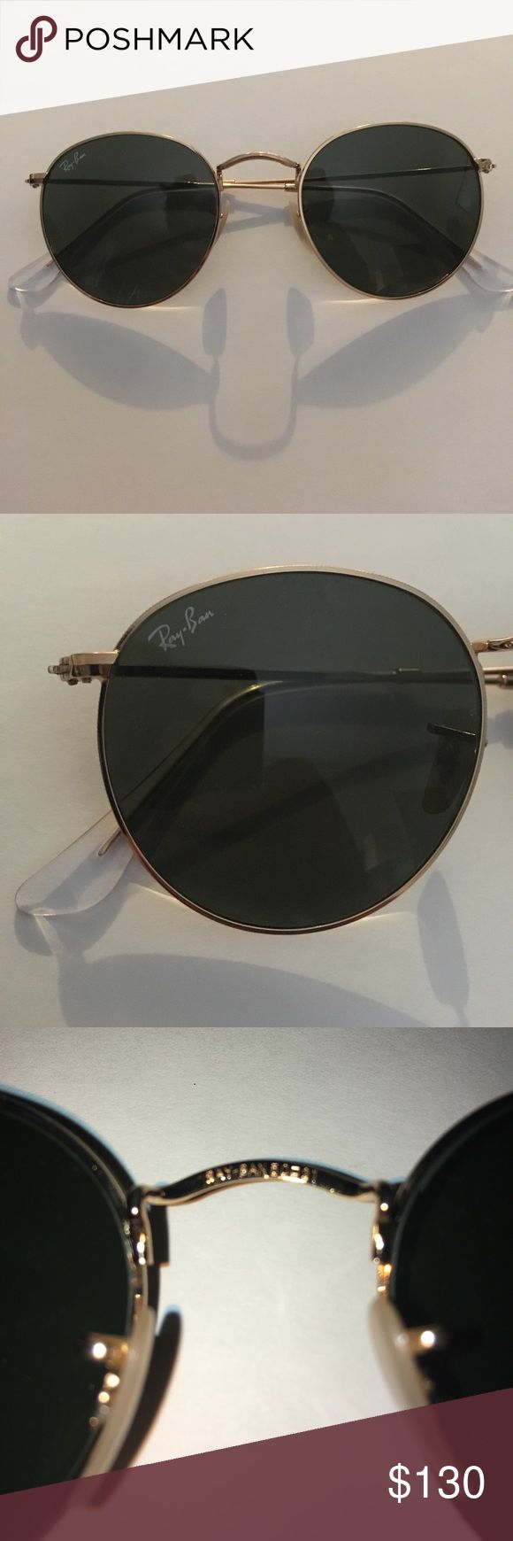 Rayban Round Sunglasses I bought these from J.crew. I've worn them all of two times. They just don't work for me. 100% authentic and in near brand new condition. No scratches whatsoever. I have included my online receipt for reassurance. It comes with the original case Pleas feel free to ask any questions. Thanks for looking. Ray-Ban Accessories Glasses