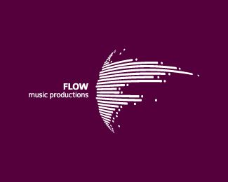 FLOW. Music Productions. Too complicated for a logo, but a cleaned up version would work.