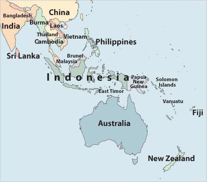 Australia's Neighbours: Map showing the location of Indonesia and other countries neighboring Australia. GE2-1, GE2-4, ACHGK016.