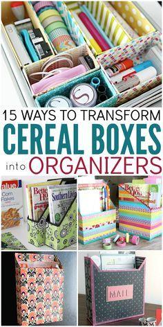 Diy recyclage de boite de céréales pour de l'organisation