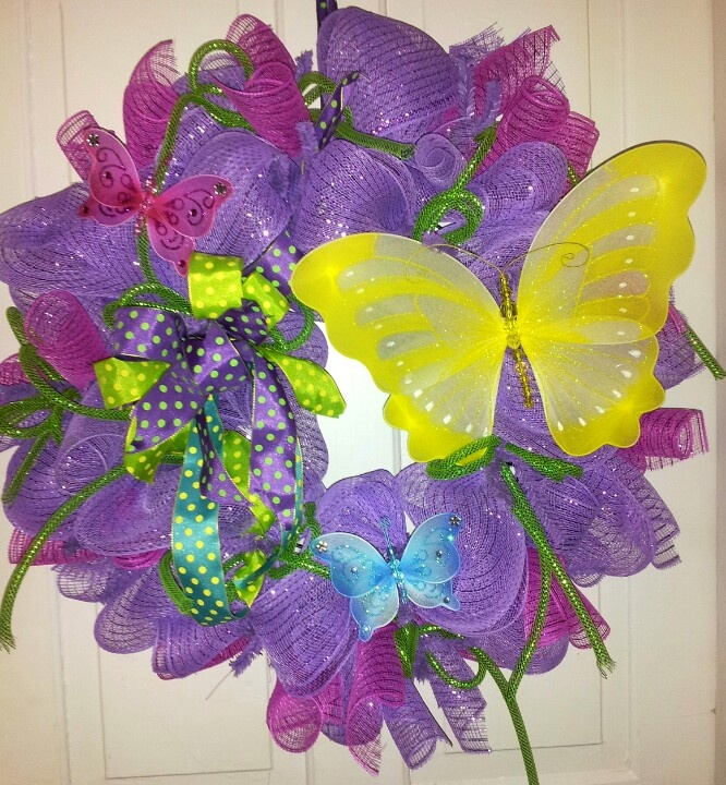 Pink Purple Green Butterfly Deco Mesh Wreath Deco Mesh
