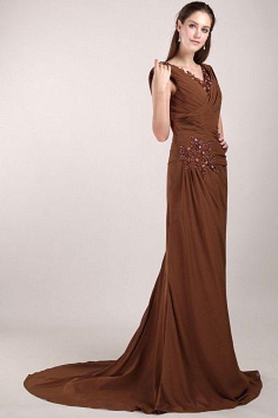 Elegant V-Neck Sheath-Column Celebrity Dress wr1757 - http://www.weddingrobe.co.uk/elegant-v-neck-sheath-column-celebrity-dress-wr1757.html - NECKLINE: V-Neck. FABRIC: Chiffon. SLEEVE: Sleeveless. COLOR: Brown. SILHOUETTE: Sheath/Column. - 131.59