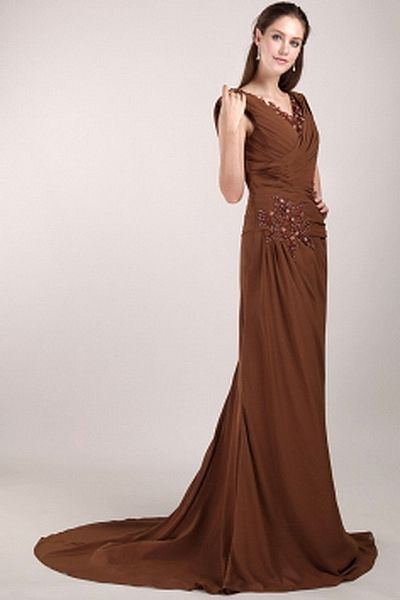 Elegant V-Neck Sheath-Column Celebrity Dress wr1757 - http://www.weddingrobe.co.uk/elegant-v-neck-sheath-column-celebrity-dress-wr1757.html - NECKLINE: V-Neck. FABRIC: Chiffon. SLEEVE: Sleeveless. COLOR: Brown. SILHOUETTE: Sheath/Column. - 131.59