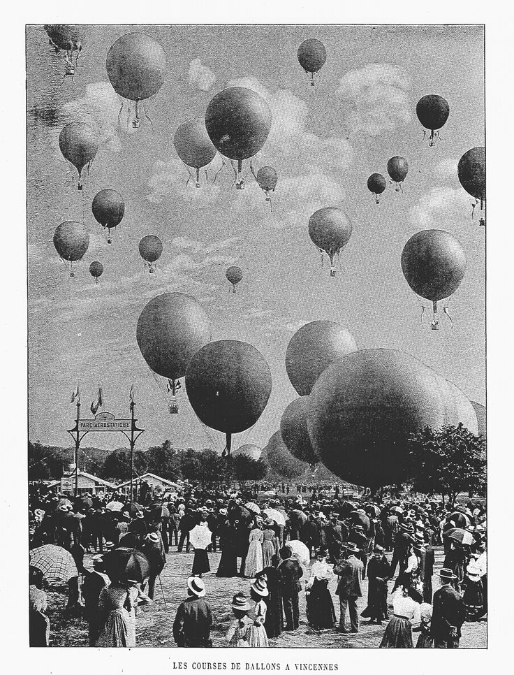 """Hot-air Balloon Race at the Olympic Games in Paris, 1900 """"Did any nation embrace aviation like the French in the early years?"""" KB"""