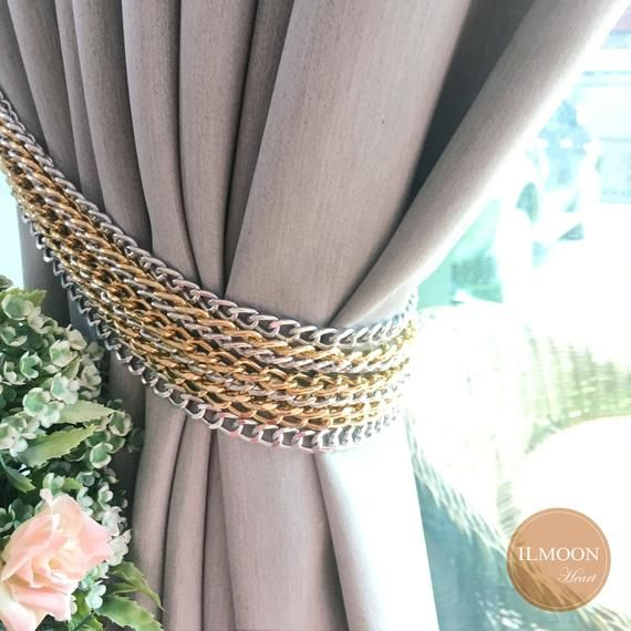 Gray And Gold Curtain Tie Backs Modern Chain Tieback Light
