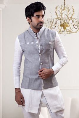 White plain linen pathhani suit with nehru jacket