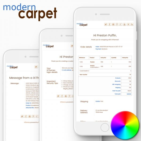 MODERN CARPET PrestaShop Email Templates
