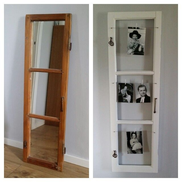 Old window fotoframe...before and after.