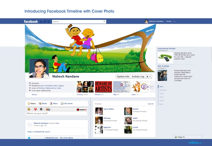 Make cover photo your introduction in Facebook timeline profile.