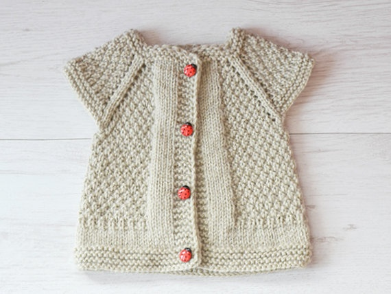 Ligth Grey Baby Girl Knitted Vest Knit Baby Vest by TinySmiley, $22.00