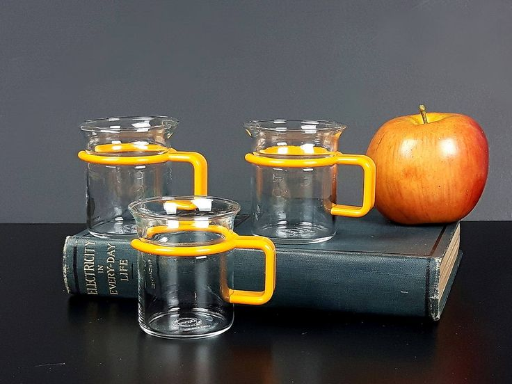Bodum Glass Espresso Coffee Mugs - 3 Vintage Bodum Coffee Cups - Tiny Bodum Espressoglas Coffee Cups - Orange Yellow Handle Bodum Bistro by EightMileVintage on Etsy