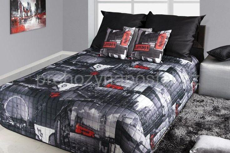 Londýn přikrývky na postel černo bílé barvy