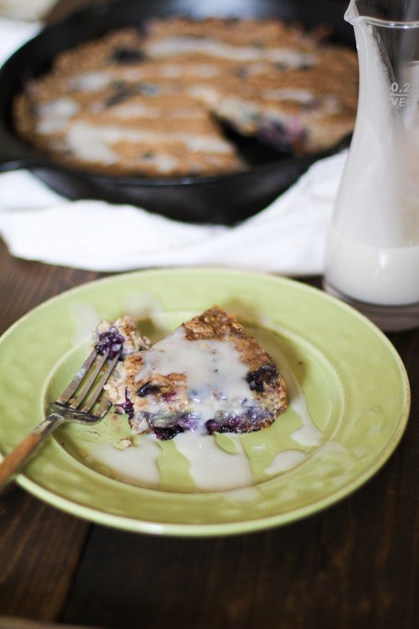 Blueberry Oatmeal Breakfast Cake with Coconut Drizzle | theroastedroot.net