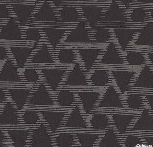 Indah Batiks - Geometric Dash Batik - Black