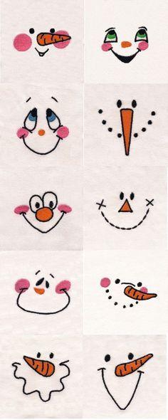 Piirrä nämä erilaiset lumiukon naamat paperille.♡