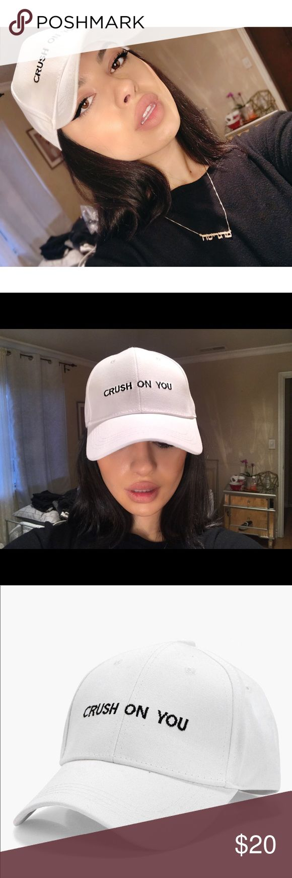 Crush On You White Dad Hat Very cute and versatile cap! Amazing for covering eyes from the sun or wearing to the gym. This hat will go with any outfit. Accessories Hats
