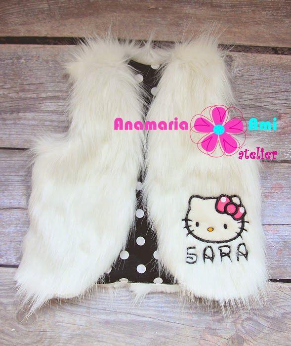 Vestute blanita personalizate brodate Anamaria Ami embroidery Hello kitty name fur girl vest