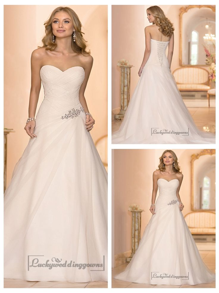 SWEETHEART CROSS ASYMMETRICAL RUCHED BODCIE A-LINE WEDDING DRESSES