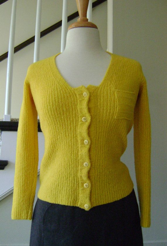 70s Sweater Hand Knit Gold Wool Cardigan Small by barbsbin on Etsy
