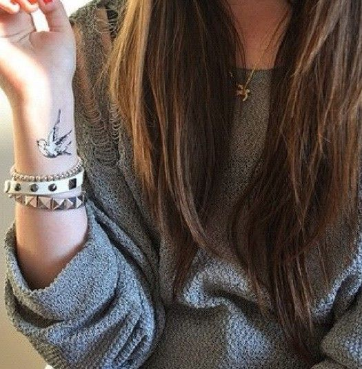 colored bird tattoo on wrist