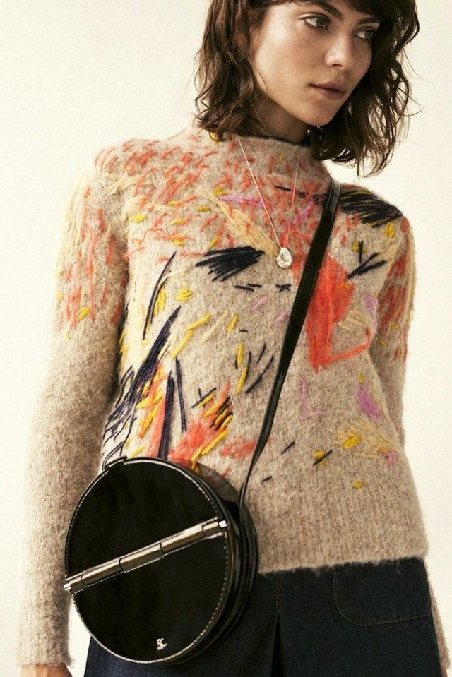 Love this idea of embroidering custom designs onto knit wear.