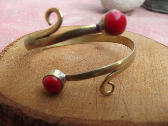 Brass bracelet with red stone brass tribal by silveringjewelry