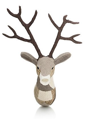 Natural Mix Patch Work Fabric Stag Head Home my new wall art love him