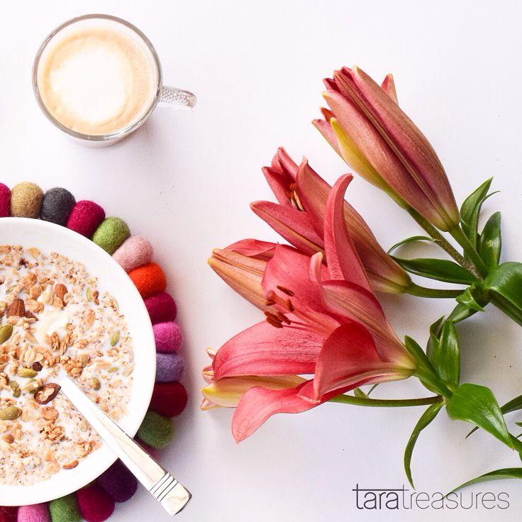 Friday morning with lilies and mueslis | felt ball coaster from Tara Treasures. #flatlay