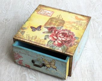 Cajón de joyería de madera cajón de decoupage rose por ArtDidi