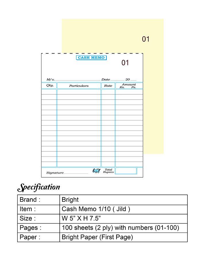 Bright Cash Memo 1 10 Memo Format Invoice Template Word