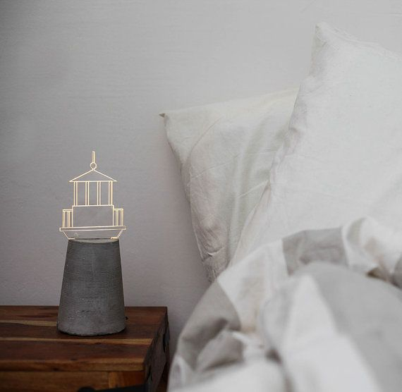 OBSESSED with these lights // Nautical lamp Lighthouse lamp grey concrete lamp by SturlesiDesign